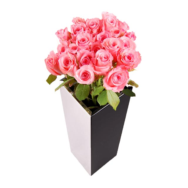 2 dozen pink roses RJ1581 enlarge - Beautiful vase...