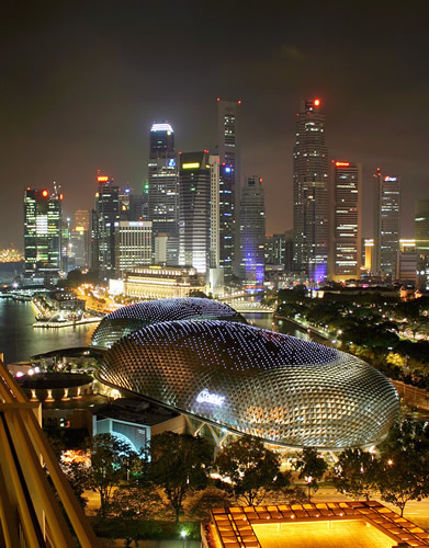 Skyline of Singapore at night.