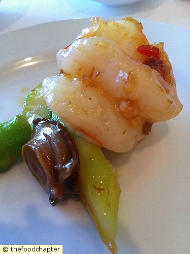 Wok-Fried Asparagus, Baby Abalone and Prawns