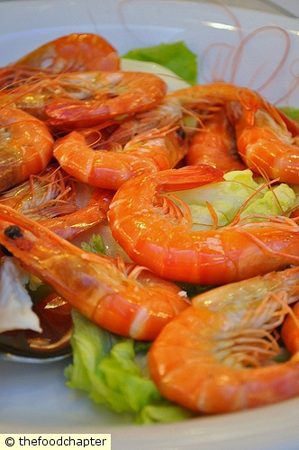Poached Live Prawns