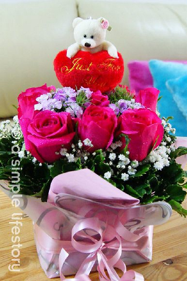 flowers with plush gift set