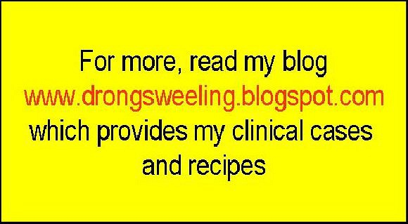 Read more, from my blog www.drongsweeling.blogspot.com which also provides my clinical cases            Yong Kang Medical Hall Pte Ltd.,永康药行诊所,      Blk 78A, Telok Blangah St 32, #01-05,      Singapore 101078.       Tel:62726400.      Email:ong.swee.ling@gmail.com      Read more details from my blog: www.drongsweeling.blogspot.com (Clinic main website).          Opening Hours:     Monday to Friday (except Thursday): 9.00am to 1.00pm,  2pm to 4.30pm,  6.30pm to 9.30pm;     Thursday and Saturday: 9.00am to 1.00pm,  2pm to 5.00pm;     Sunday and Public Holiday:  2.00pm to 5 pm.     Please note : We are open on most Public Holidays but not all.  We are close     on Christmas day and Chinese New Year day. Please call the Clinic phone number     (Tel: 62726400) for the phone announcement on the every day to check.