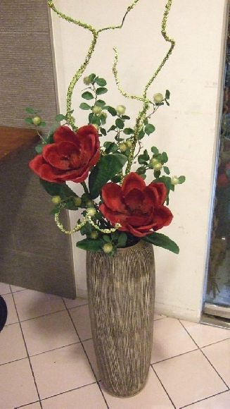 Artificial Flowers Arrangement in tall pot