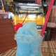 Woody Family Cafe's Newest Creation, the blue curacao infused drink Frosty Blue Monkey