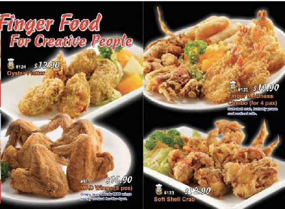 Dine-in Finger Food menu