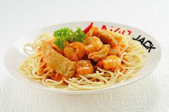 Spaghetti with Sambal Seafood @ $11.90
