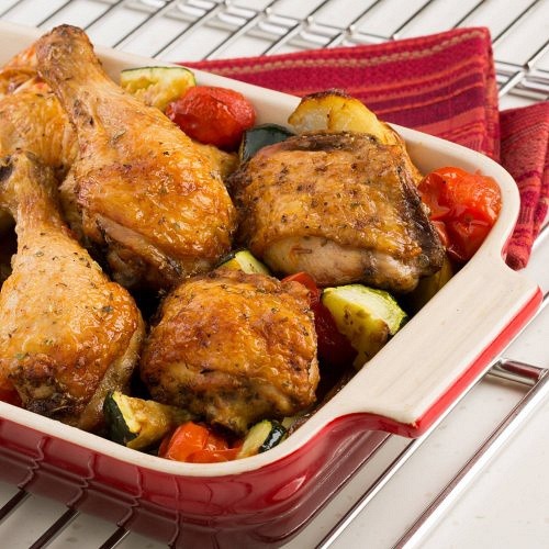 Tray baked chicken and vegetables
