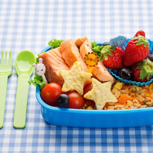 Brown Rice and poached salmon