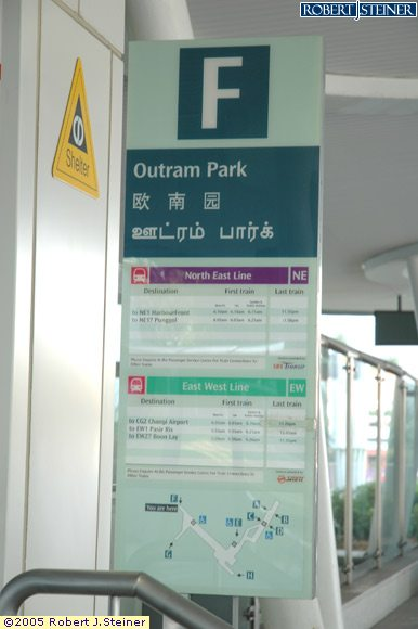 Signage of Outram Park MRT  EW16