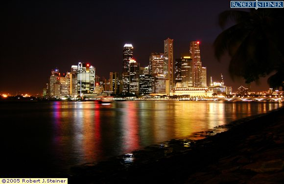 Singapore Skyline Night View From Marina Promenade