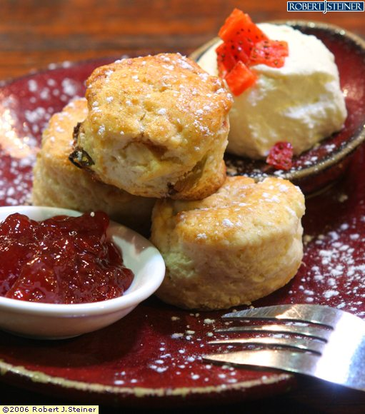 Scones With Whipped Cream And Strawberry Jam by Epicurious