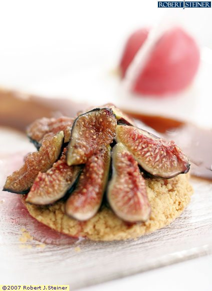 fig tartlet with raspberry sorbet vincotto sauce by