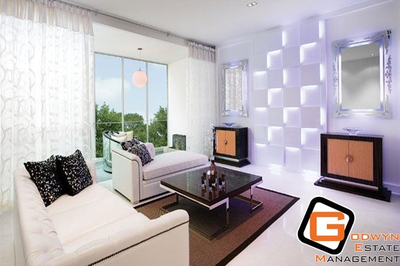 Living room of waterfall gardens building image singapore for Waterfall in living room design