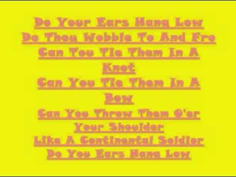 do your ears hang low lyrics pdf